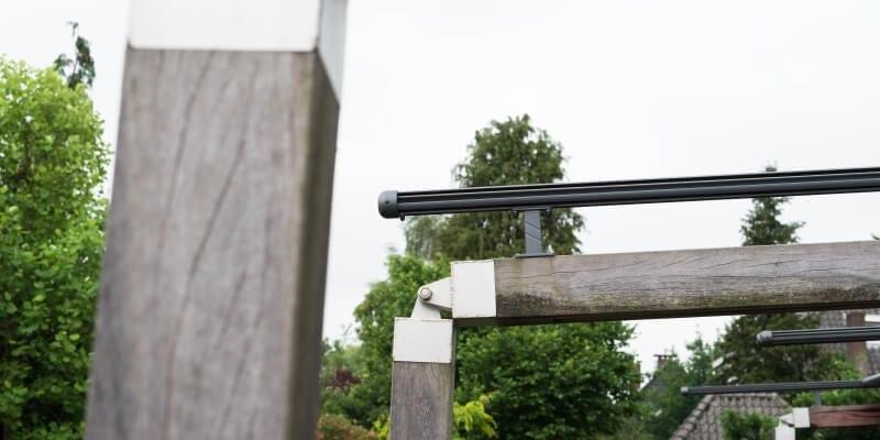 Houten overkapping doek staal