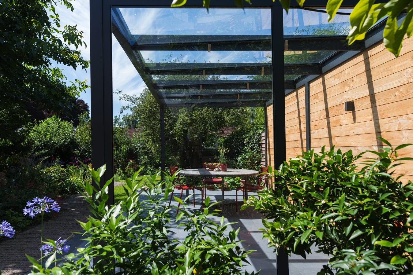 Aluminium terrasoverkapping vrijstaand glas