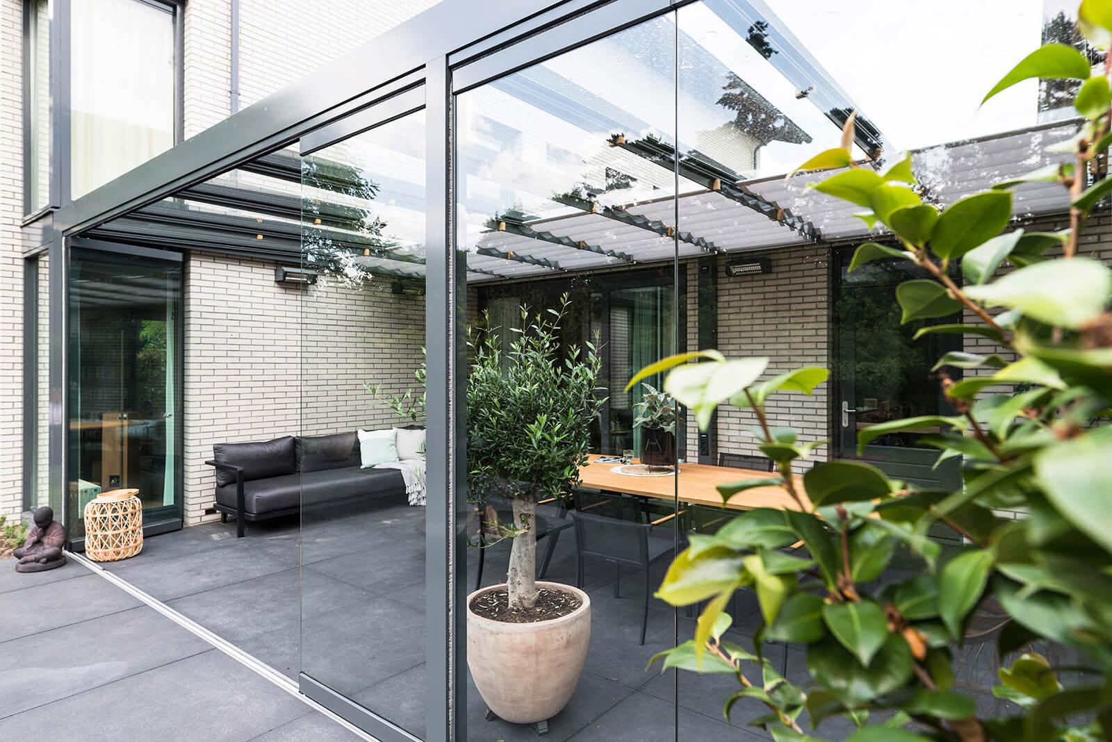 Glazen overkapping tuinkamer